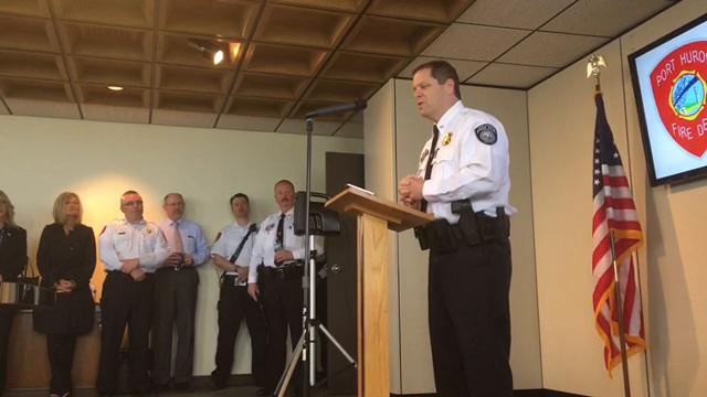 Port Huron Police Chief Jeff Baker and Fire Chief Dan Mainguy thanked  past colleagues and their families after the city announced their departure later this year.