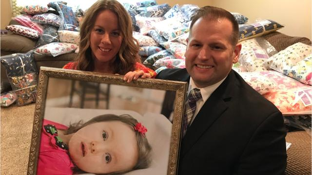 DeWitt couple Lisa and Chad Borodychuk have made, donated nearly 6,000 positioning pillows through the foundation they created to honor their daughter Olivia, who died when she was 8.