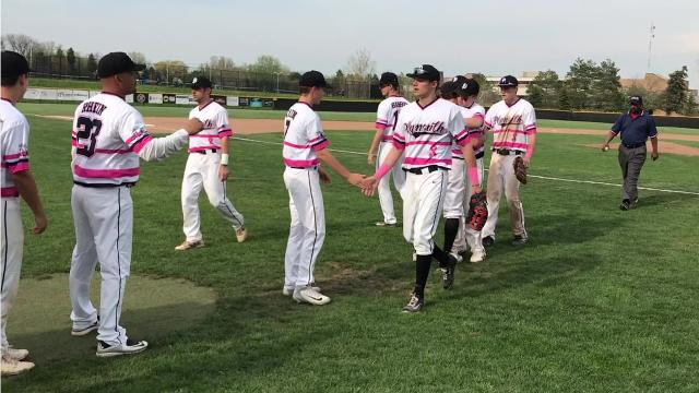 High school baseball action