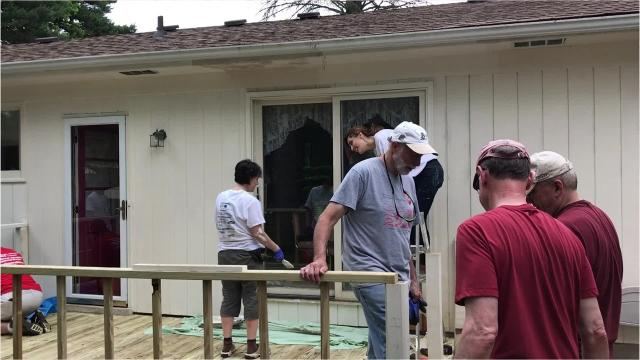 When a Wixom widow needed work done on her home, a church group from Novi came out in droves to come through for her.