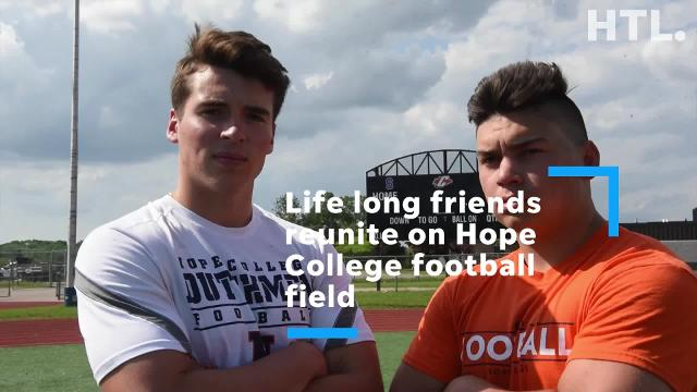 Lou Baechler and Ryan Young grew up together playing sports in Plymouth, but in high school played on opposing teams at the Plymouth-Canton Educational Park. This fall they will both pay football for the same team at Hope College.