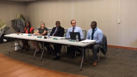 Lansing Housing Commission Executive Director Martell Armstrong defends his leadership during a board meeting on Wednesday, June 27, 2018.