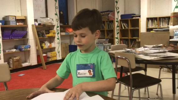 Five-year-old Xavier Bonney wrote his book last week.