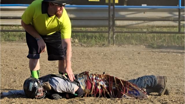 Warning: graphic content. Logan Harter, 15, was airlifted from the Lost Nations Rodeo amateur bull riding event in Marshall on June 29, 2018 after sustaining a fractured skull and collapsed lung. Photos courtesy of Kristy Harter and Jeff Wilson.