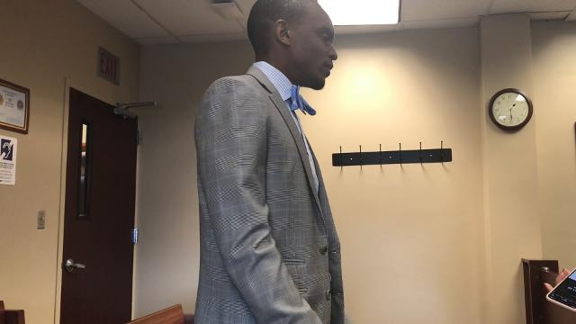 Attorney Takura Nyamfukudza, who is representing ex-Michigan State gymnastics coach speaks to reporters before a Sept. 7, 2018 probable cause conference. Klages is charged with lying to police about knowledge of reports against Larry Nassar.