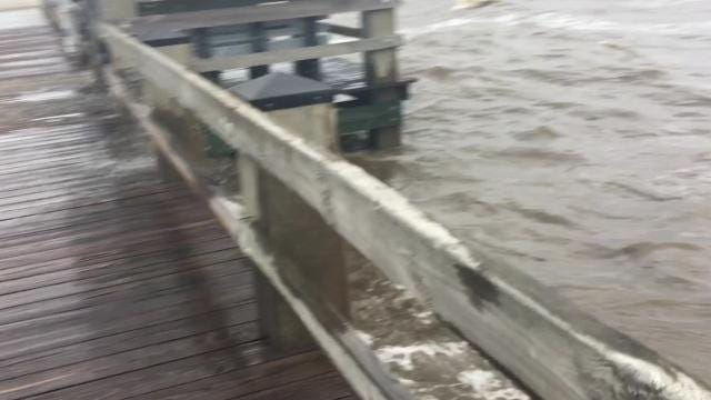 Hours before Hurricane Nate was projected to hit the Mississippi Gulf Coast, residents were out on the pier in Gulfport to look at the swells.