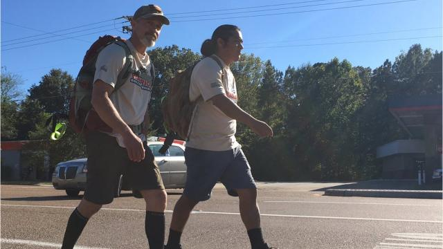 Sponsored by the Warrior Bonfire Program, Jason Bailess of Vicksburg and Gabriel Vasquez of Austin, Texas set off on a trek from the Alabama state line all the way to Vicksburg in five days to bring awareness to PTSD.