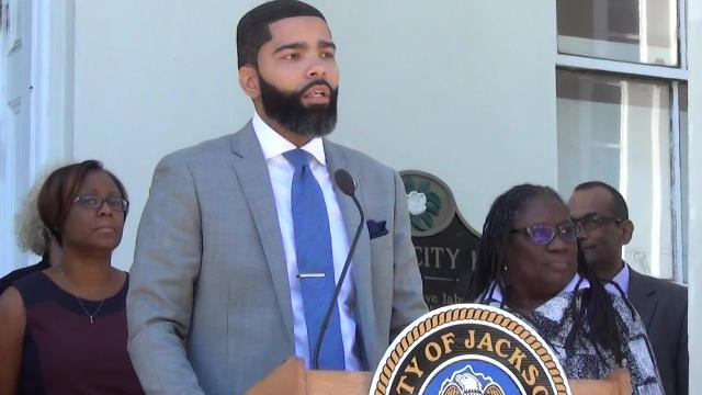 Jackson Mayor Chokwe Antar Lumumba holds a press conference on the fate of the Jackson Public School District.