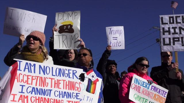 Protesters demonstrate near site of Trump's Mississippi visit