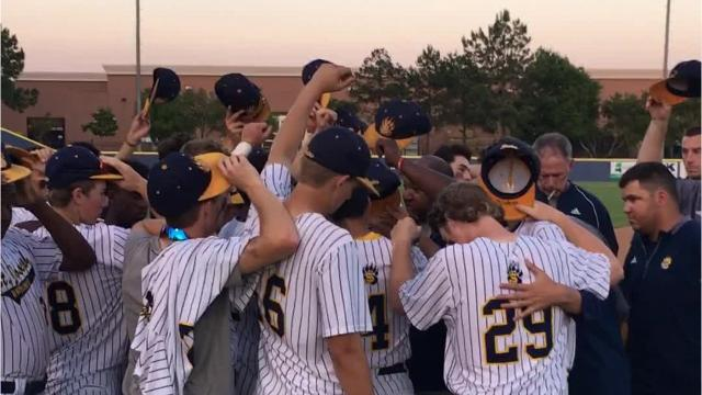 The Clarion Ledger talks with St. Joe-Madison starting pitcher Josh Bailey and head coach Gerard McCall after the team's 12-2 win Thursday over Perry Central in Game 1 of the Class 2A South State finals.