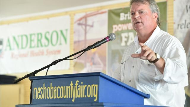 Mississippi Attorney General Jim Hood speaks at the 2018 Neshoba County Fair on Wednesday, Aug. 1, 2018.