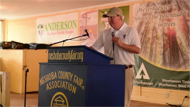 Lt. Gov. Tate Reeves speaks critically of the media and squares up to Mississippi Attorney General Jim Hood, Wednesday, Aug. 1, 2018, at one of the biggest political events of the year in the state, the Neshoba County Fair, in Philadelphia, Miss. Aug. 1, 2018.