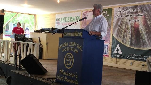 Political speeches came to a close at Neshoba County Fair's Founders Square with a dramatic speech by Mississippi Governor Phil Bryant. Bryant railed against 'damn lies,' the media and hinted at special session. Thursday, Aug. 2, 2018.