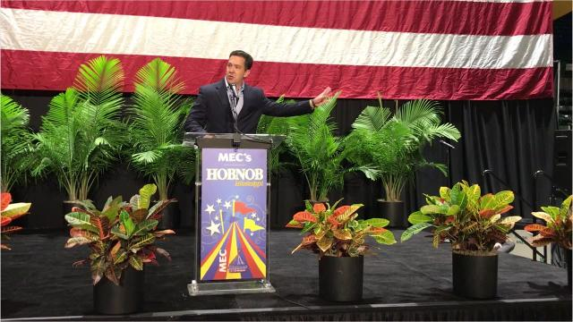 Senate candidate Chris McDaniel speaks before the annual gathering of the state chamber of commerce known as Hobnob.