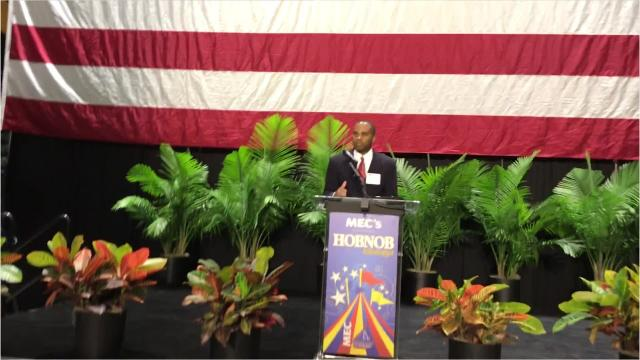 Senate candidate Tobey Bartee speaks before the annual gathering of the state chamber of commerce known as Hobnob.