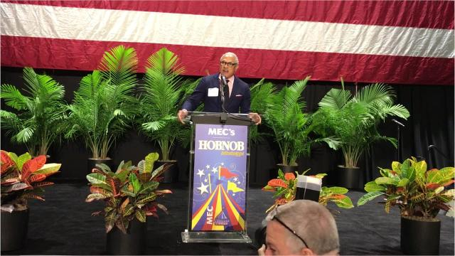 Espy speaks before the annual gathering of the state chamber of commerce known as Hobnob.