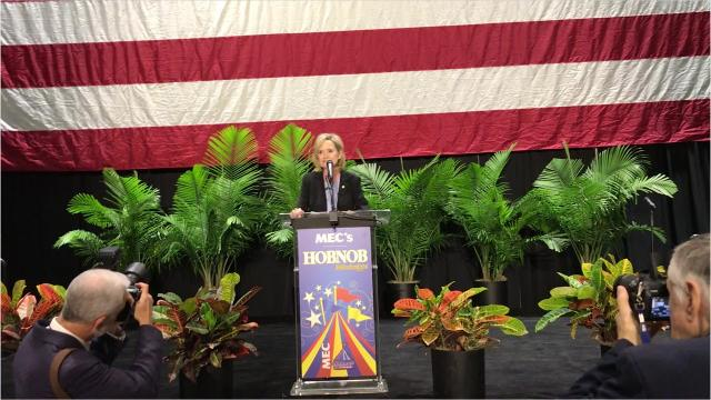 Cindy Hyde-Smith speaks before the annual gathering of the state chamber of commerce known as Hobnob.