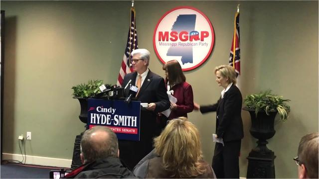 At a Monday news conference about an endorsement by the National Right to Life Committee, Gov. Phil Bryant and Sen. Cindy Hyde-Smith were asked about Hyde-Smith's comments about attending a hanging, captured in a video posted online Sunday.
