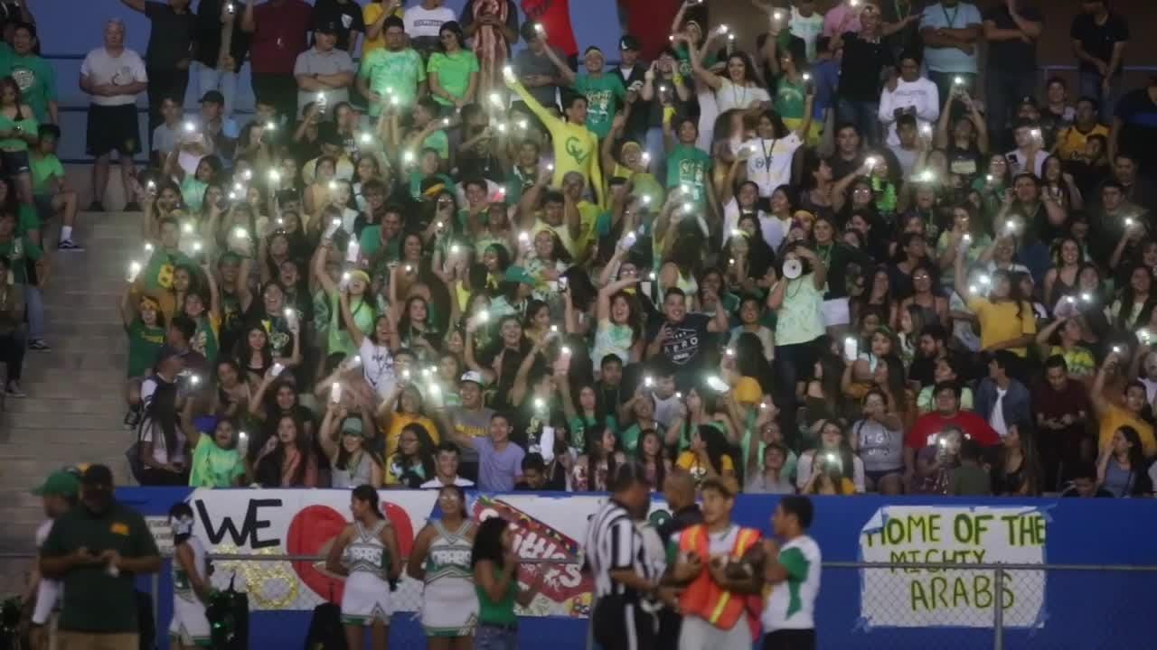 Fans at the Bell Game between Coachella Valley and Indio cheer for their team on Friday, Sep. 15, in Indio.