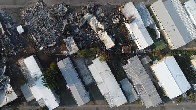 Drone video of fire destruction of Santa Rosa