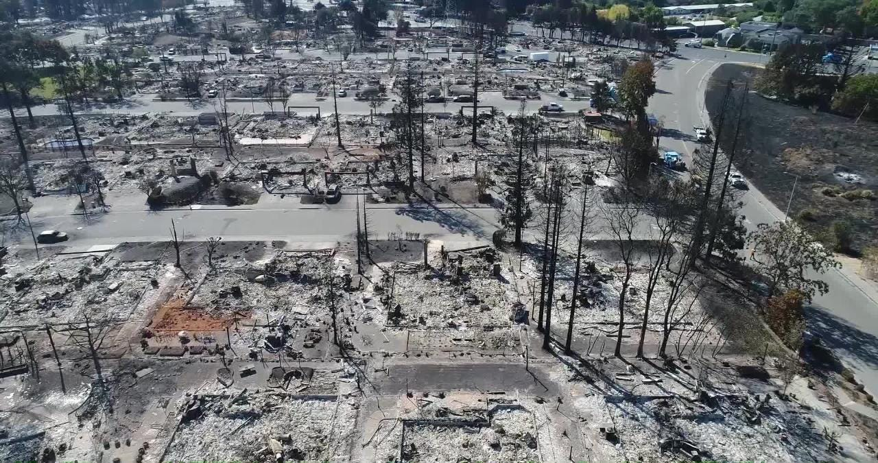 Drone footage of aftermath of the Tubbs fire on the Larkfield-Wikiup  neighborhood in Santa Rosa