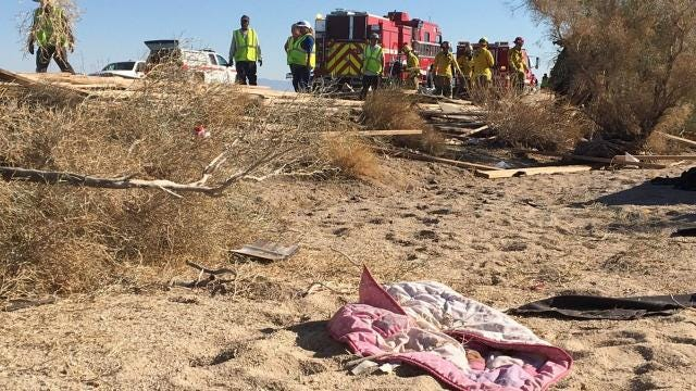 FILE - Three men died and a little girl was injured after a big rig truck struck another that was parked along Interstate 10 near Desert Center.