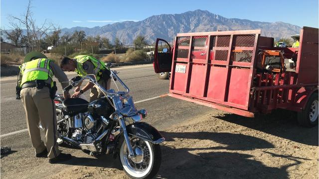 A collision Friday morning in Desert Hot Springs left one motorcyclist dead, according to California Highway Patrol officer Cliff Porter.
