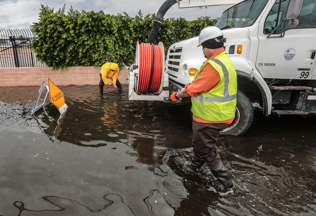 The first storm of the year to hit the Coachella Valley flooded streets in Indio and Coachella on Tuesday.
