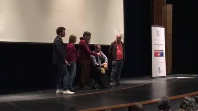 "Will Lautzenheiser, who lost all his limbs after contracting a bacterial infection, talks to students about his double arm transplant after ""Stumped,"" a documentary chronicling his journey, was shown at the Indio High School Performing Arts Center on Tuesday, Jan. 9, 2018, as part of the Palm Springs International Film Festival."