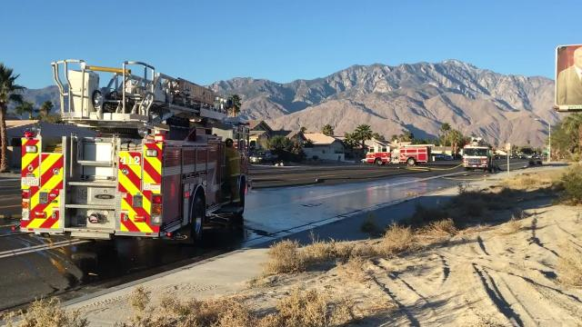 A brush fire blocked Vista Chino in Cathedral City Monday morning. The fire happened between Date Palm Drive and Panorama Road.