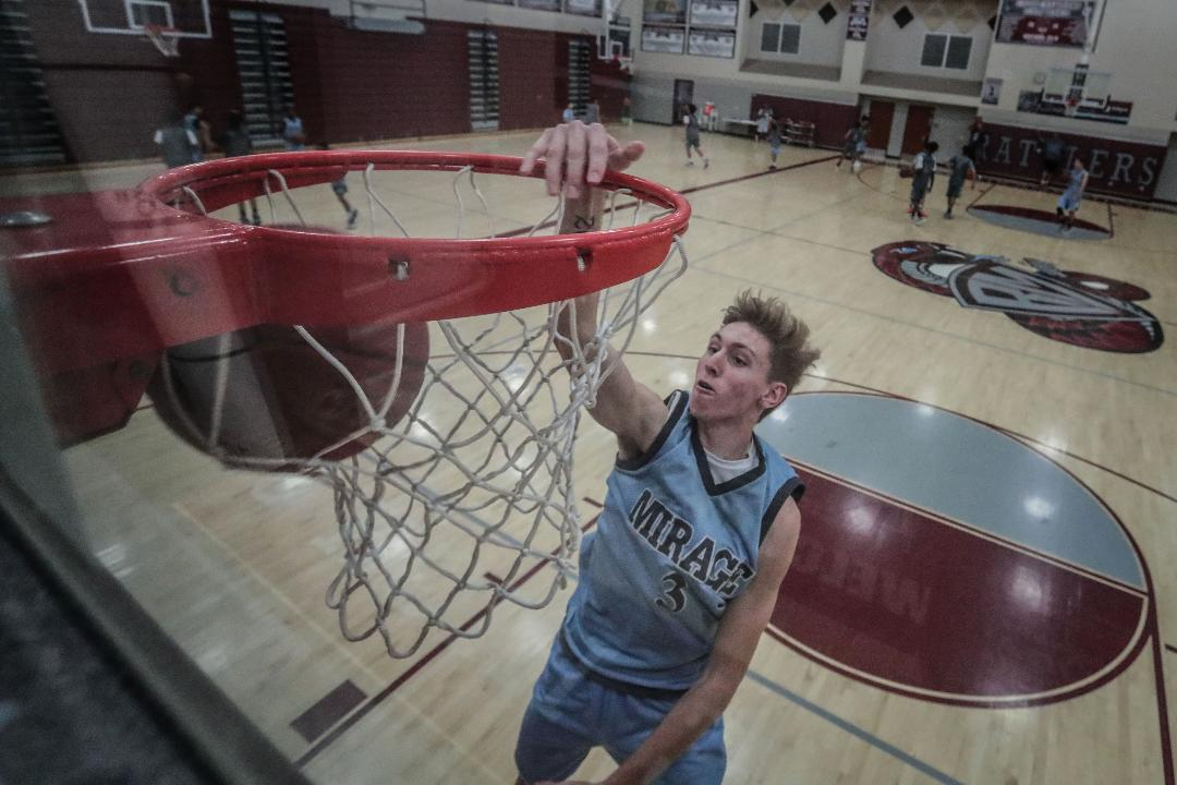 Rancho Mirage forward Zack Kroker shows off his dunks.