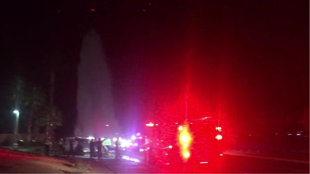A truck struck a fire hydrant in Palm Springs sending a geyser of water into the air.