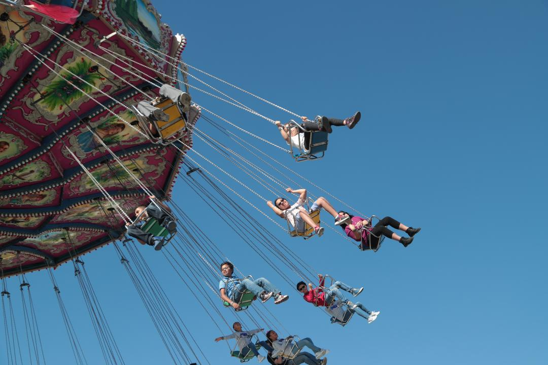 The swing ride draws crowds at the Riverside County Fair and Date Festival.