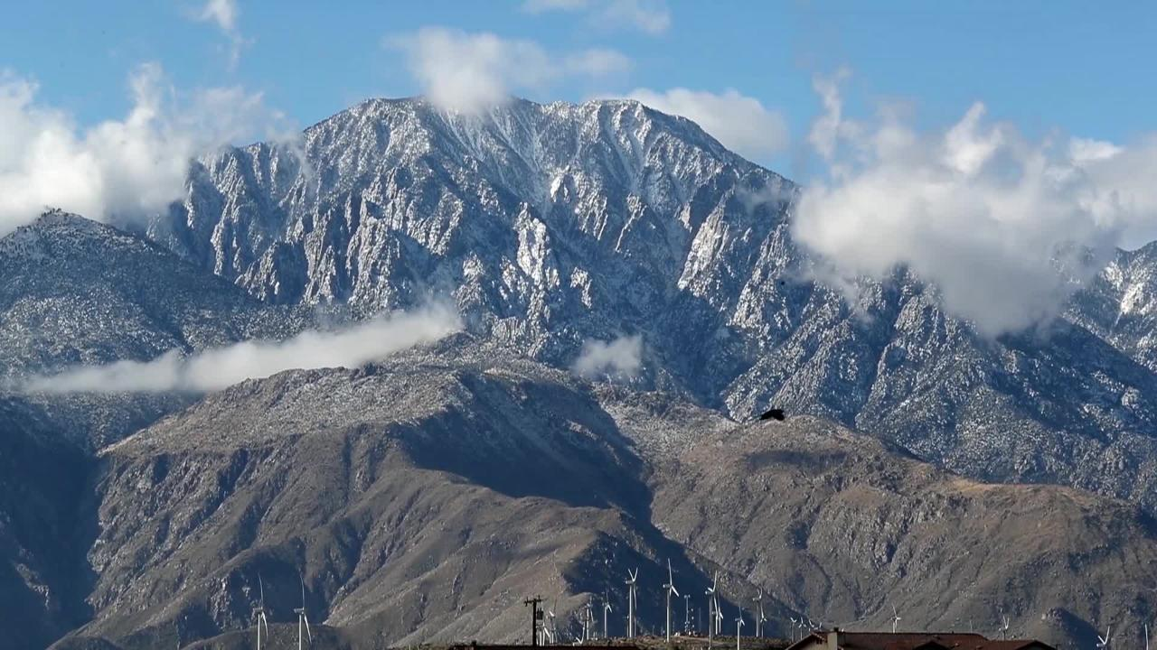 A fresh coat of snow was visible on the mountains in the Coachella Valley and the San Gorgonio pass, February 26, 2018.