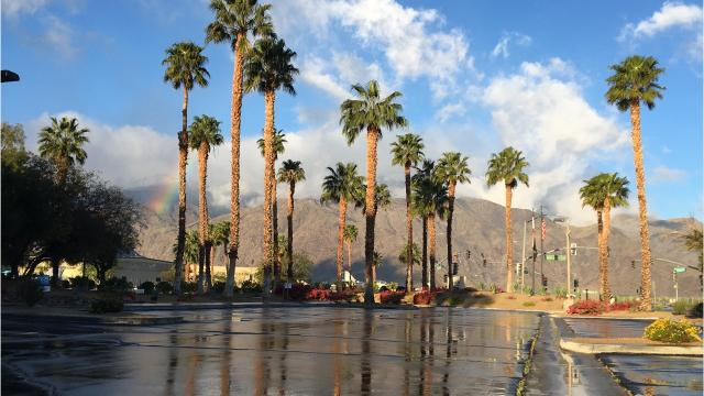 Small amounts of rain fell overnight on Palm Springs. Weather experts say more rain could fall throughout Thursday.