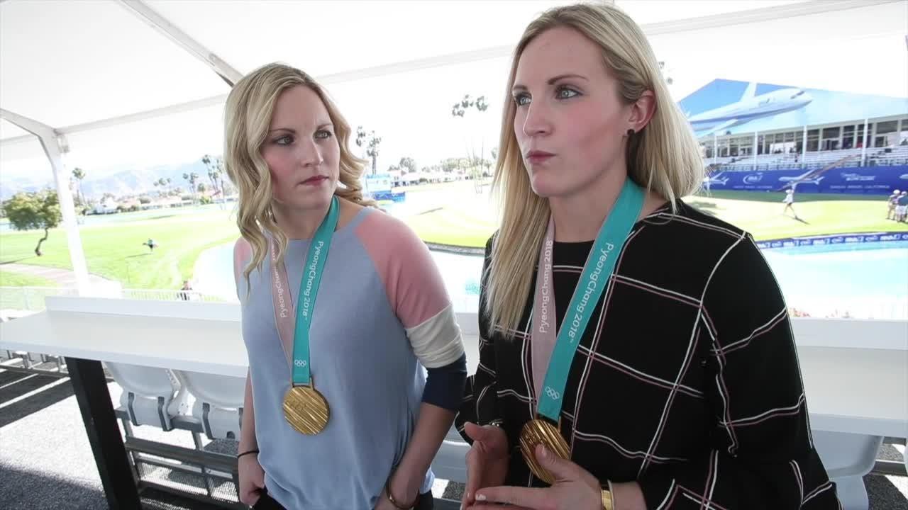 Women's Hockey Gold Medalists, Jocelyne Lamoureux-Davidson and Monique Lamoureux-Morando speak at ANA