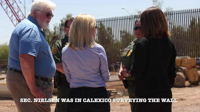 Department of Homeland Security Secretary Kirstjen Nielsen visits border wall in Calexico amid protests from Mexicans on Wednesday, April 18, 2018.