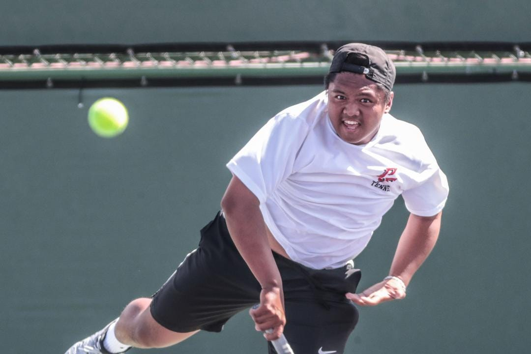 Palm Springs' Michael Cabacungan on his Desert Valley League tennis single title win over Palm Desert's J.J. Henderson.