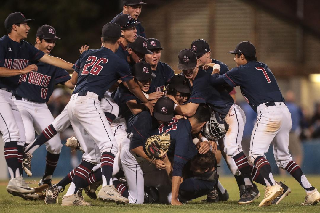 La Quinta baseball celebrate their CIF SS Div 4 title after beating Monrovia 6-5.