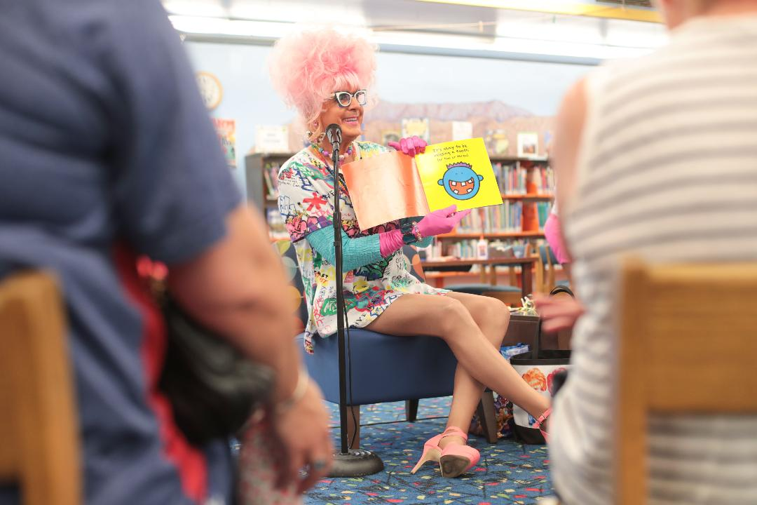Bella da Ball brings the fun to Drag Queen Story Hour at Palm Springs Library.