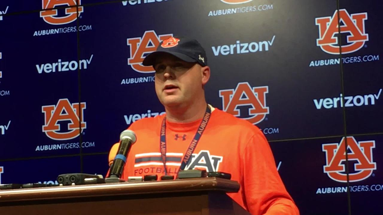 Auburn OC Chip Lindsey after 3rd practice of the 2017 preseason camp