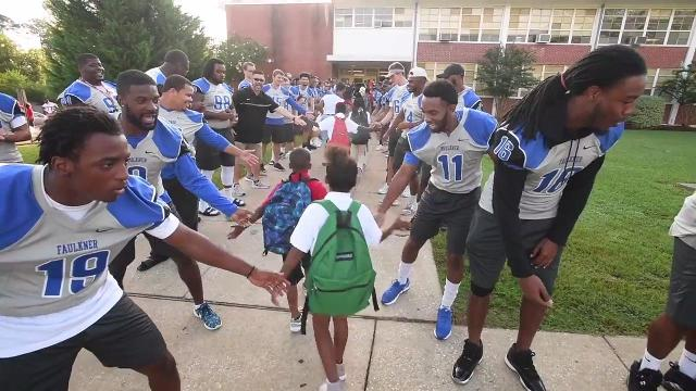 Faulkner students welcome Davis Elementary pupils on first day