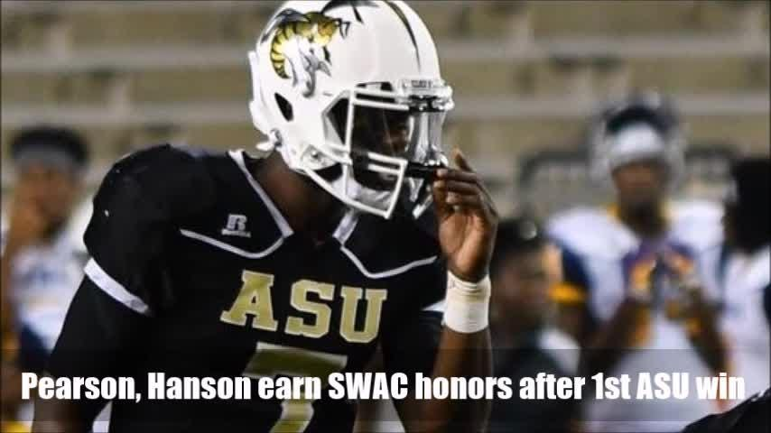 Alabama State freshmen Hunter Hanson and Darryl Pearson, a redshirt transfer from Arkansas State, received individual honors after last week's 23-16 win at Texas Southern.