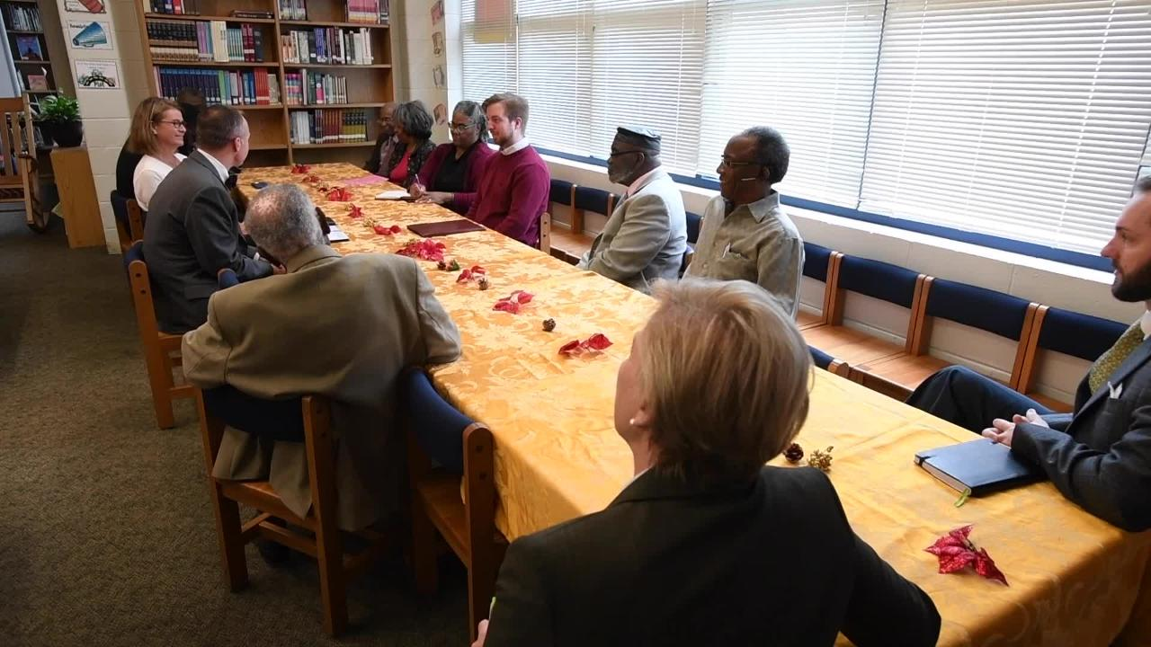 Jeremy Pridgeon speaks as the Pan Methodist Group meets, at E.D. Nixon Elementary School in Montgomery, Ala., on Tuesday December 5, 2017, to discuss how their churches can serve students and create partnerships with schools.
