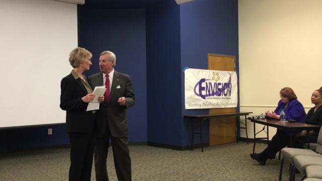 Mayor Todd Strange and mental health commissioner Lynn Beshear
