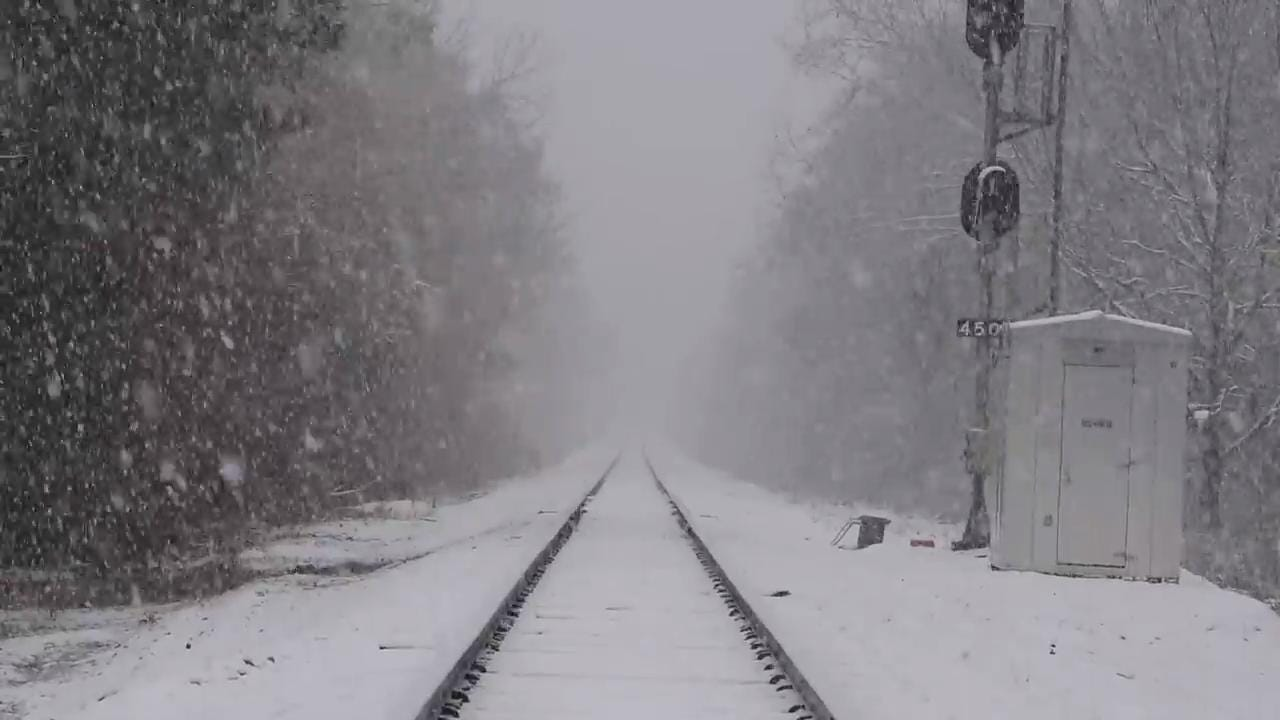 Heavy snow falls near Clanton, Ala. on Friday December 8, 2017.