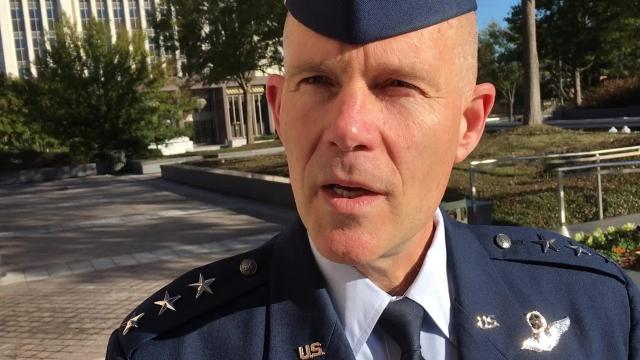 Air Force Lt. Gen. Steven Kwast describes plans for an innovation center outside the gates of Maxwell Air Force Base in Montgomery.