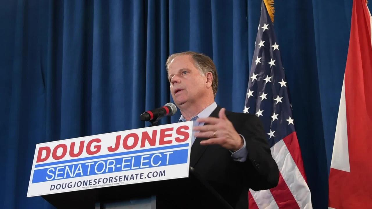 Senator Elect Doug Jones talks about Roy Moore's effect in Jones' win, as he holds a day after the election press conference in Birmingham, Ala. on Wednesday December 13, 2017. (Mickey Welsh / Montgomery Advertiser)