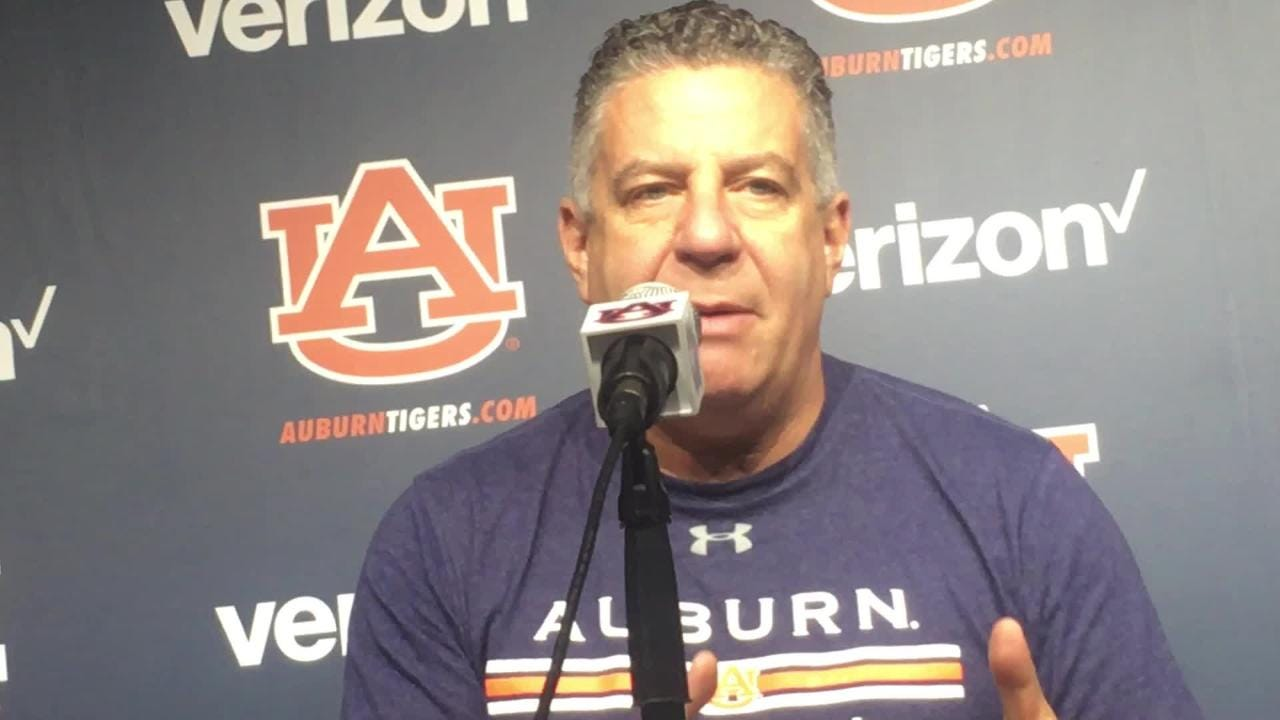 Auburn head coach Bruce Pearl on Dec. 14 before MTSU game in Birmingham.`