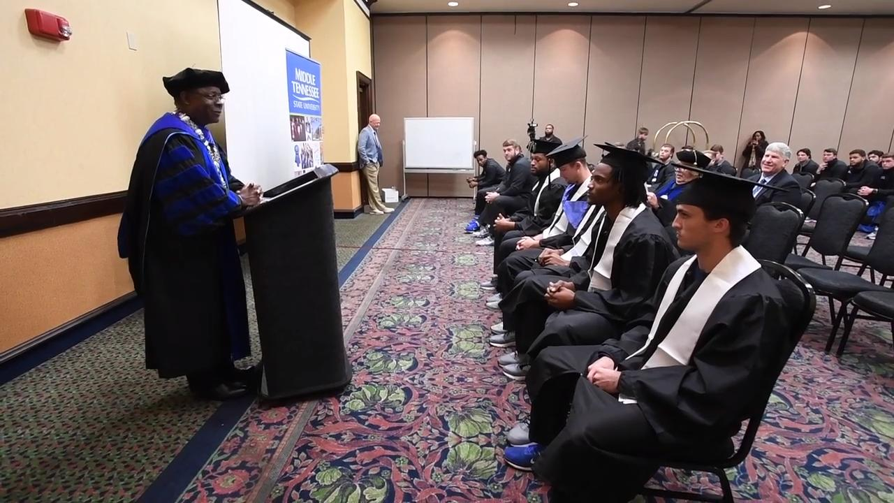 Middle Tennessee State University President Sidney McPhee speaks as members of the MTSU football team are given a graduation ceremony at the team hotel in Montgomery, Ala. on Friday Dec. 15, 2017. MTSU is playing in the Camellia Bowl in Montgomery.